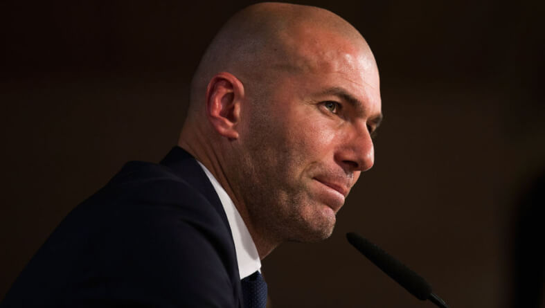 MADRID, SPAIN - JANUARY 05: Newly appointed manager of Real Madrid Zinedine Zidane looks on during a Real Madrid press conference at Valdebebas training ground on January 5, 2016 in Madrid, Spain. (Photo by Gonzalo Arroyo Moreno/Getty Images)