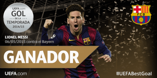 Leo Messi ganador mejor gol temporada 2014 2015 uefa champions league