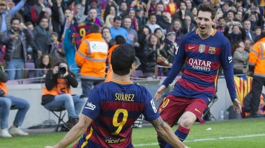 Celebración de Messi y Luis Suárez por el segundo gol de los azulgranas